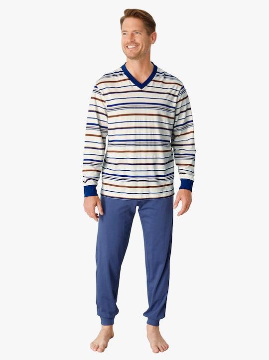 Pyjama - ecru/blauw gestreept