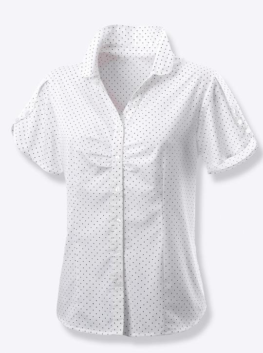 Bluse - weiß-getupft