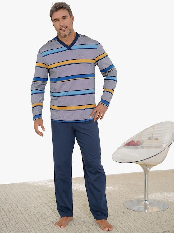 Pyjamas - marin+gul, randig