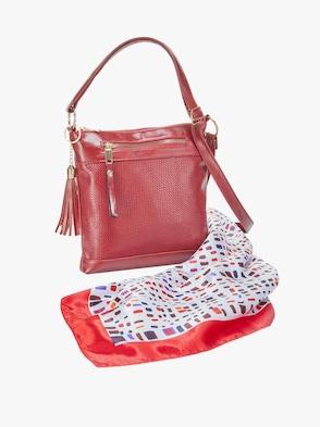 Handväska + scarf - röd, prickig