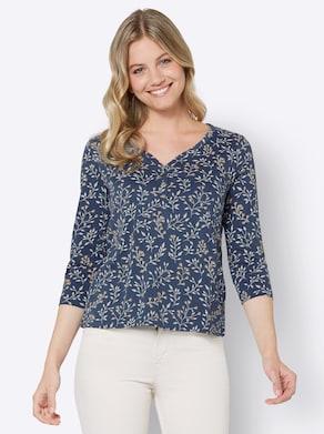 Shirt - dunkelblau-ecru-bedruckt