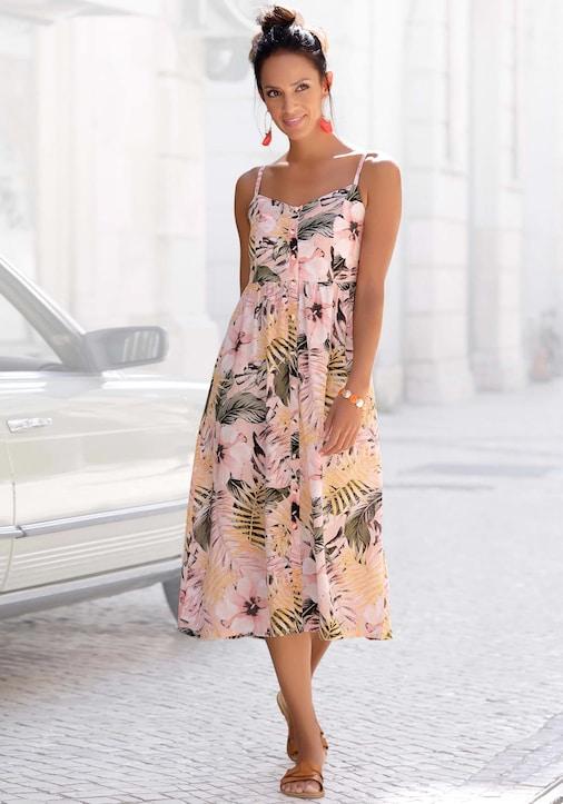 LASCANA Sommerkleid - apricot-bedruckt
