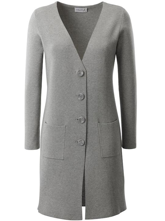Collection L Strickmantel - grau-meliert