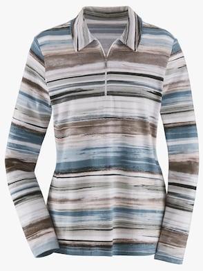 Poloshirt - blau-taupe-geringelt