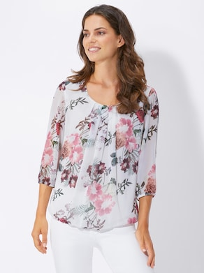Fair Lady Blouse - ecru/roze geprint