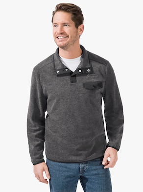 Fleece-Shirt - grau-meliert