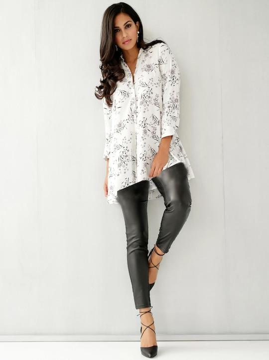 Bluse - weiß-gemustert