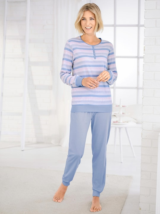 Normann Schlafanzug - bleu-geringelt