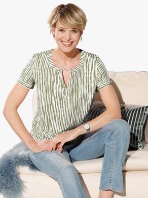 Comfortabele blouse - kaki geprint