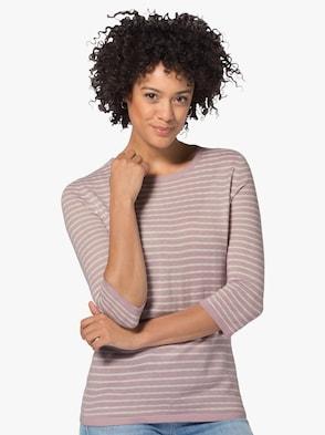 Pullover - mauve-weiß-gestreift