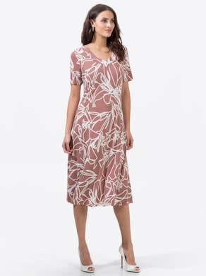 Jersey-Kleid - rosenholz-ecru-bedruckt