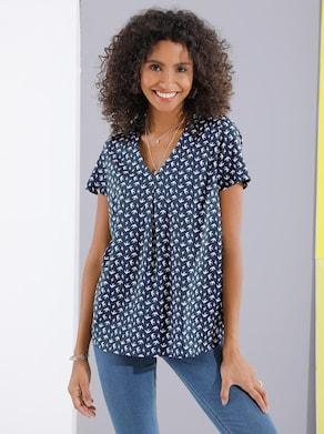 Comfortabele blouse - marine geprint
