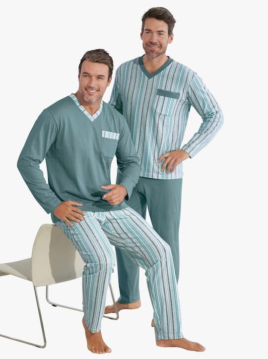 KINGsCLUB Pyžama - nefritová+nefritová-proužek