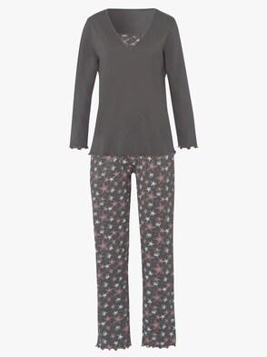 Schlafanzug - braun-bedruckt