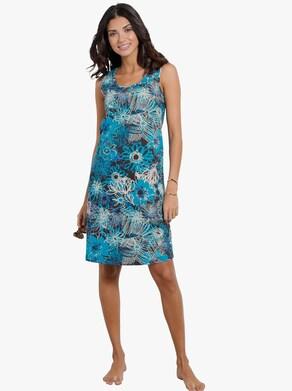Sommerkleid - schwarz-blau-bedruckt