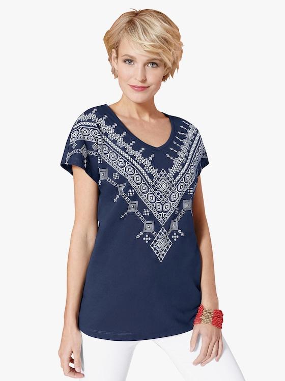 Shirt - marine-weiß-bedruckt
