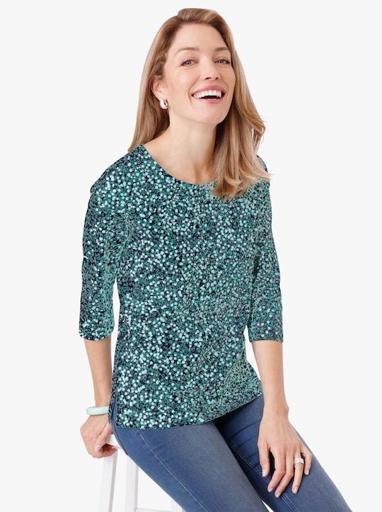 Shirt - smaragdgroen gedessineerd