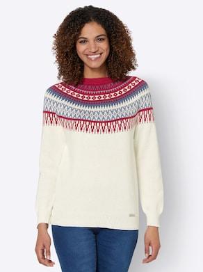 Pullover - ecru-kirsche-gemustert