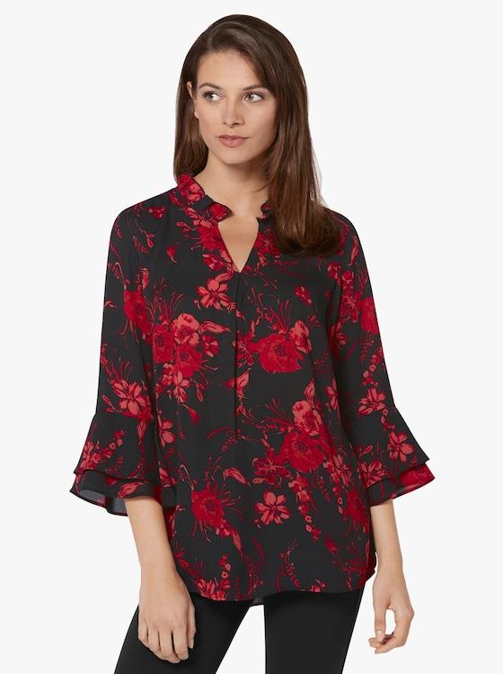 Bluse - schwarz-rot-bedruckt