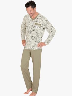 Schlafanzug - ecru-grün