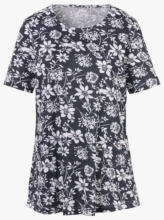 Shirttuniek - marine/wit geprint
