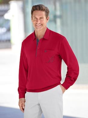 Langarm-Poloshirt - rot