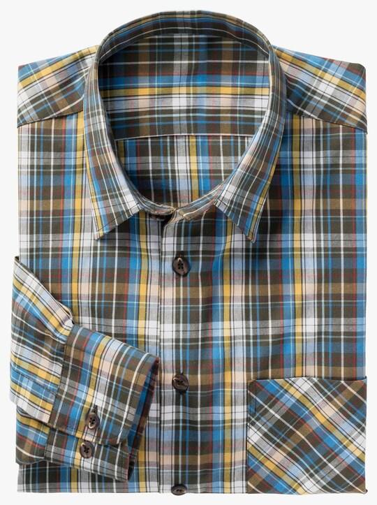 Hemd met lange mouwen - blauw/geel geruit