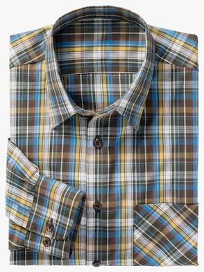 Langarm-Hemd - blau-gelb-kariert