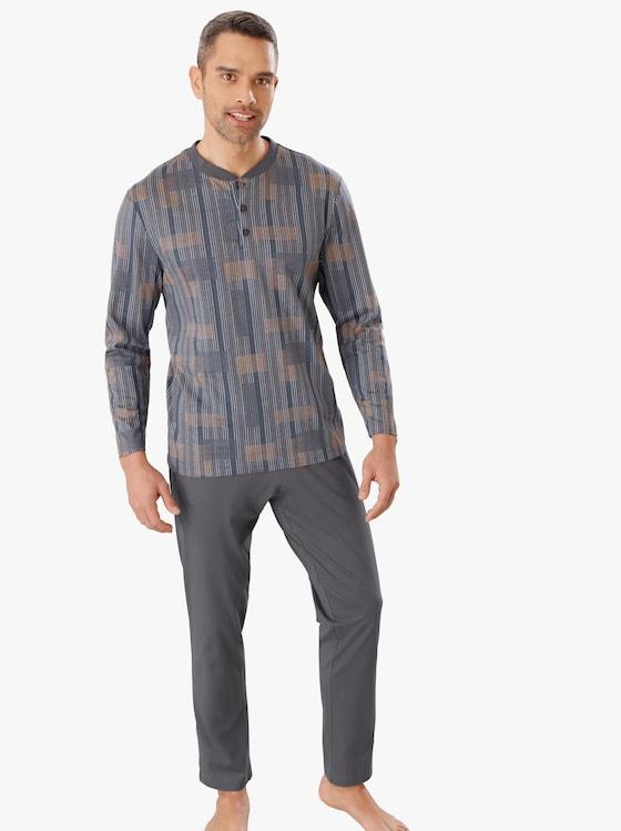 Schlafanzug - grau-gemustert