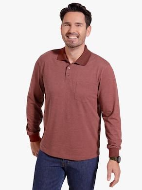 Poloshirt - rotbraun-meliert