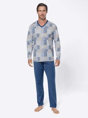 wäschepur Schlafanzug - blau-bedruckt
