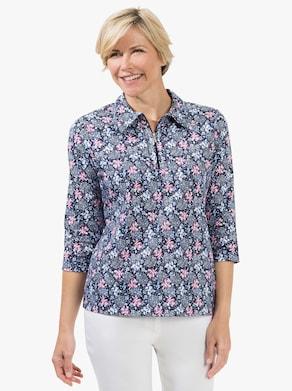 Shirt - marine-altrosa-bedruckt