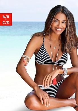 s.Oliver Triangel-Bikini-Top - schwarz-weiß-gestreift