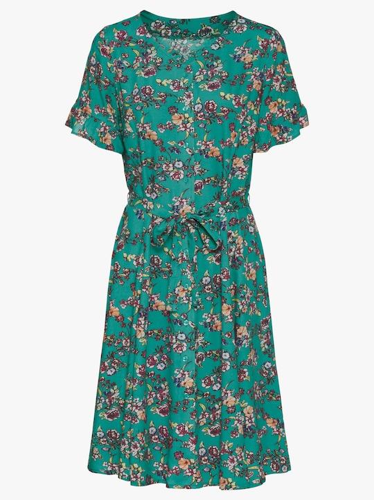 Druck-Kleid - smaragd-gemustert