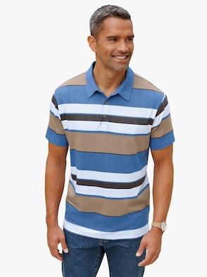 Poloshirt - beige/blauw gestreept