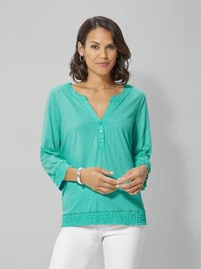 Shirt - smaragd gestippeld