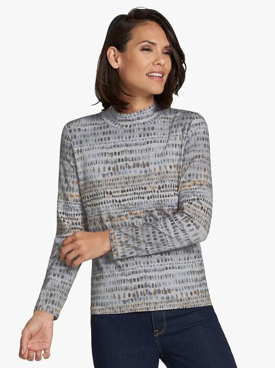 Tričko - šedá-kari-vzor