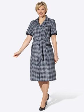 Kleiderschürze - marine-bedruckt