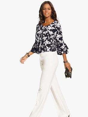 Bluse - schwarz-weiß-bedruckt