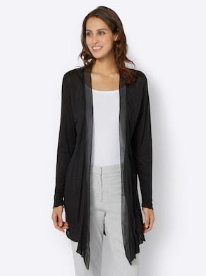 Lang shirtjasje - zwart
