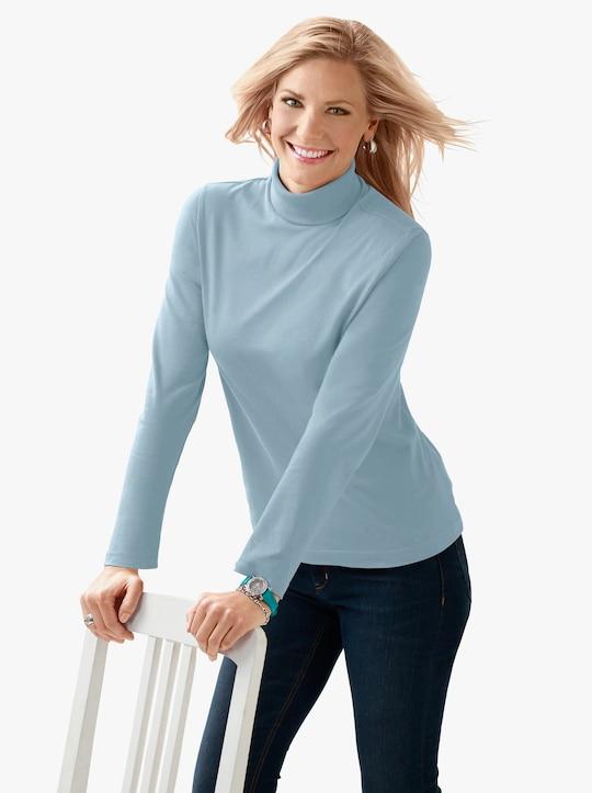 Tričko s rolákovým límcem - tyrkysová