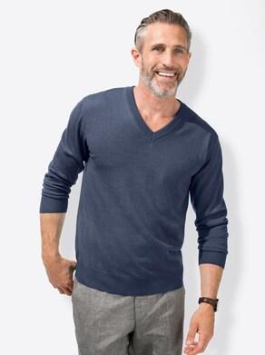 Marco Donati V-Pullover - jeansblau