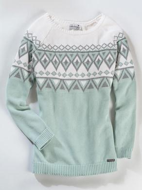 Pullover - mint-gemustert