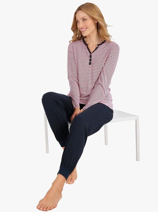 wäschepur Schlafanzug - marine-geringelt