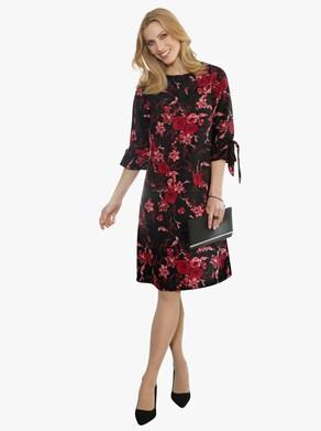 Kleid - schwarz-rot-bedruckt