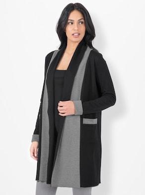 Shirtjacke - schwarz-grau-meliert