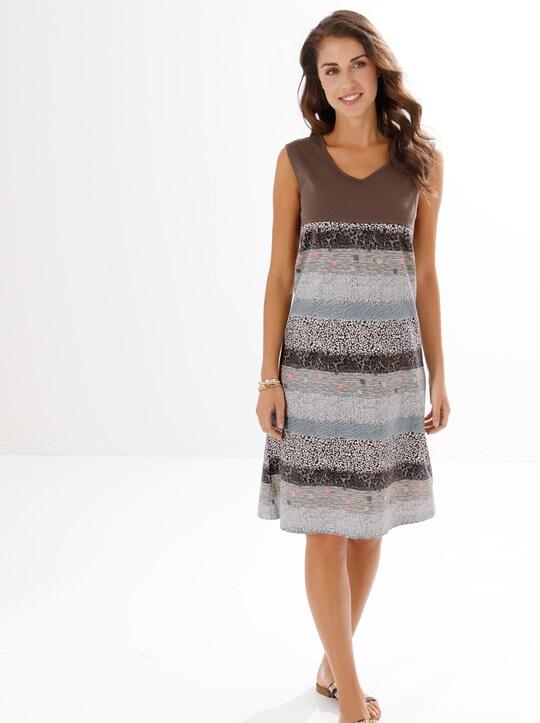Sommerkleid - grau-braun-bedruckt