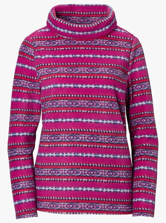 Fleece-Shirt - magenta-bedruckt