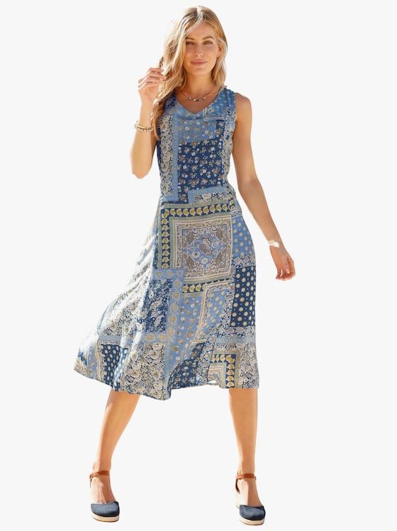 Kleid - blau-gepatcht