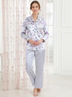 wäschepur Pyjama - silbergrau-bedruckt
